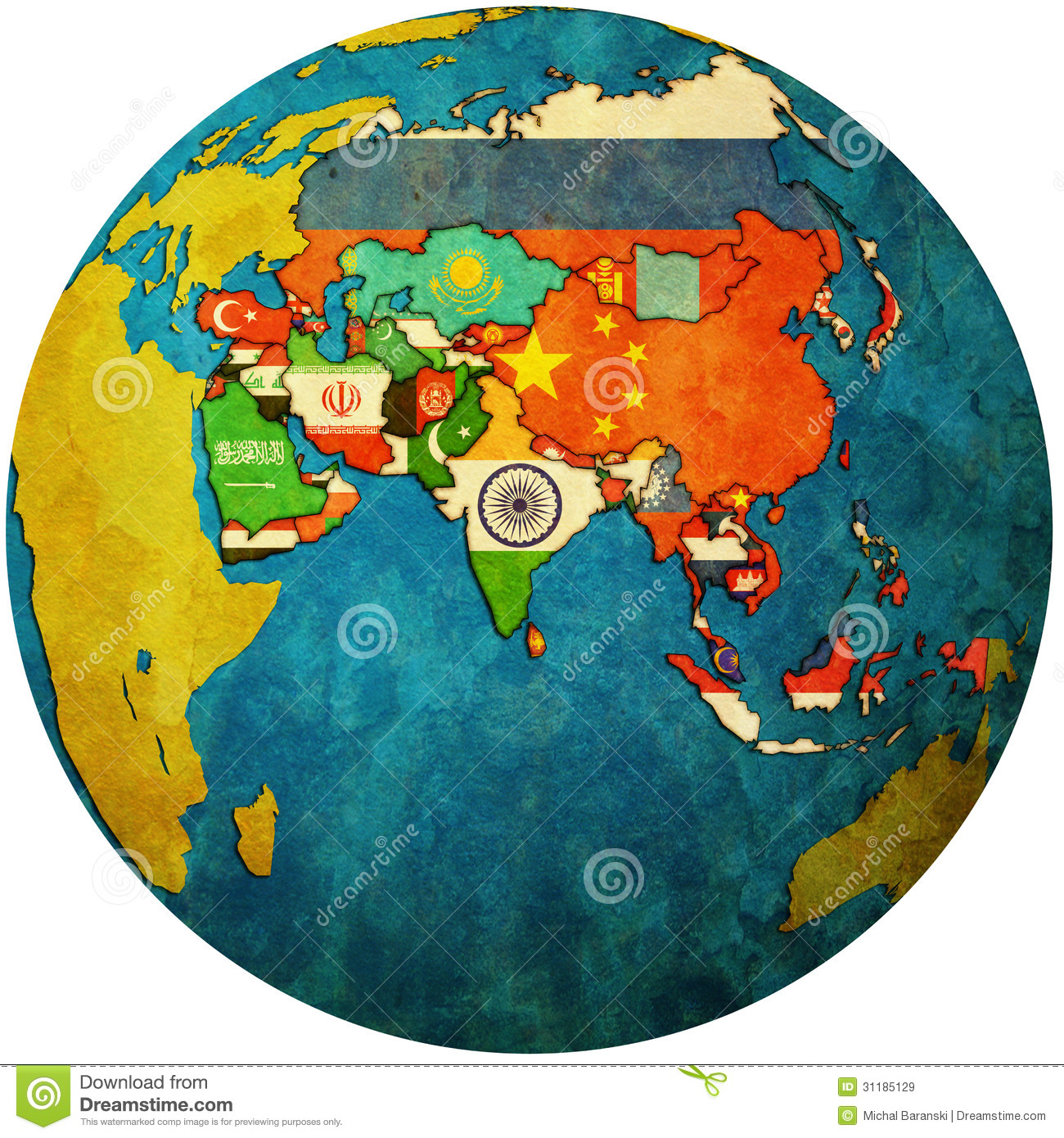Asia On A Map Of The World.Political Map Of Asia On Globe Map Stock Illustration Illustration