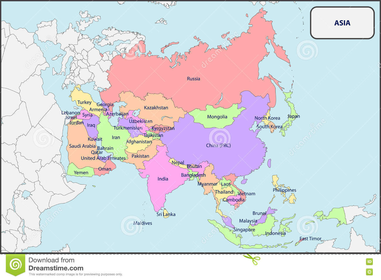 Map Of Asia Without Names.Political Map Of Asia With Names Stock Vector Illustration Of