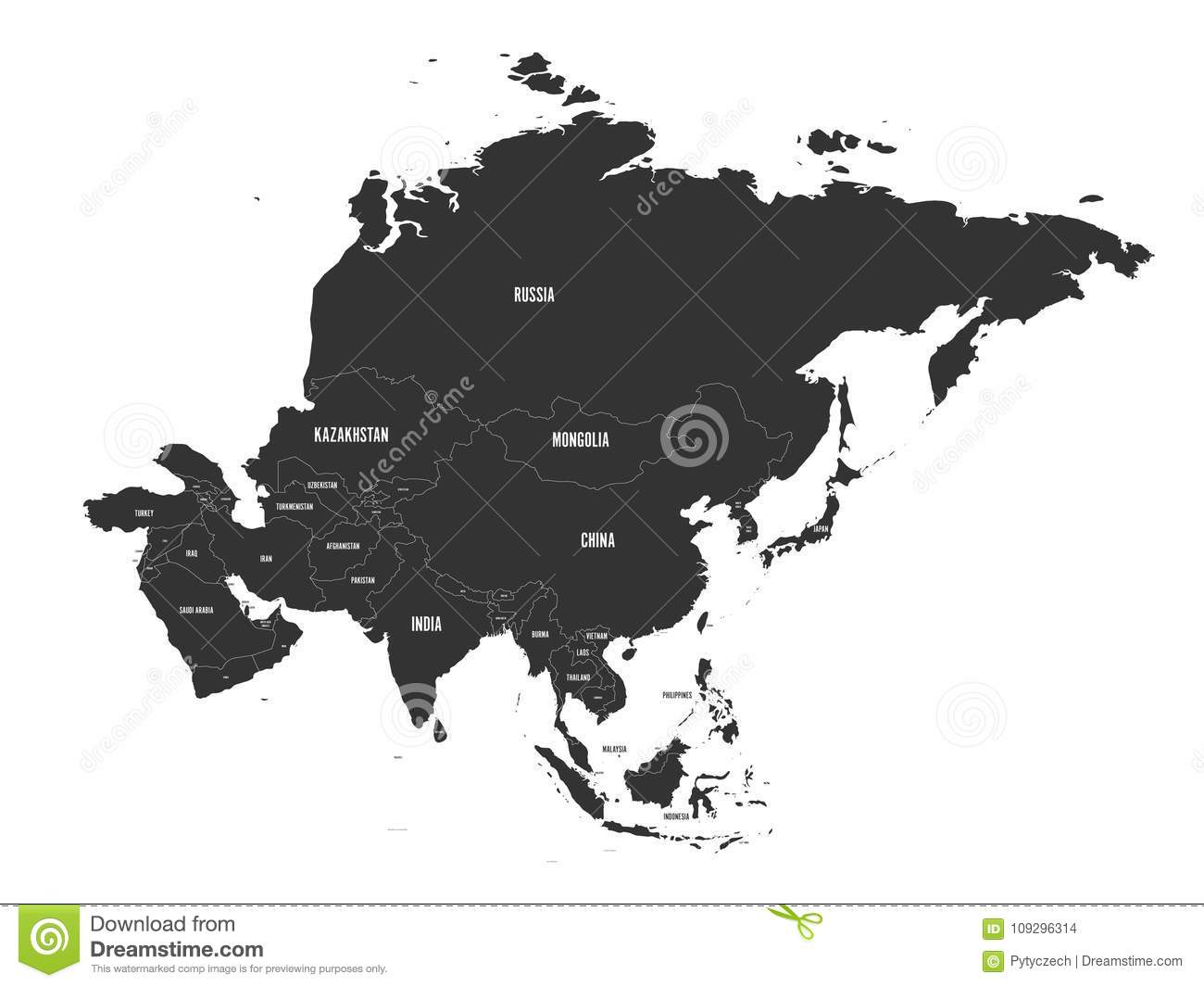Map Of Asia Vector.Political Map Of Asia Vector Illustration Stock Vector