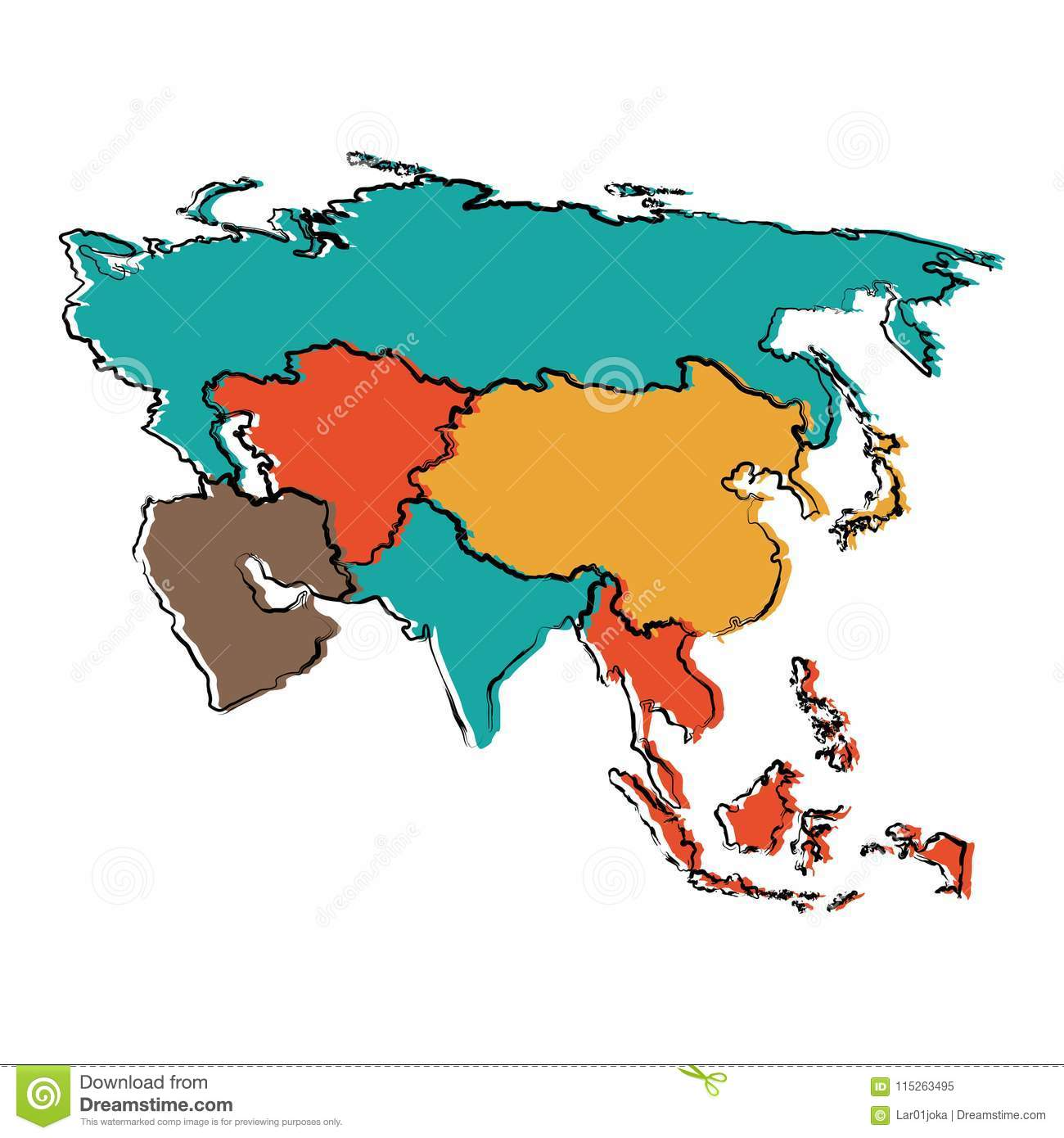 Political map of Asia stock vector. Illustration of color ... on beijing map asia, color map south america, color map australia, color us map, world clock asia, pyramids of asia, color europe map, north asia, color map united states, shape of asia, compass of asia, color map africa, world map asia, citytime zone map asia, educational maps of asia, coloring pages of animals in asia, color map egypt,