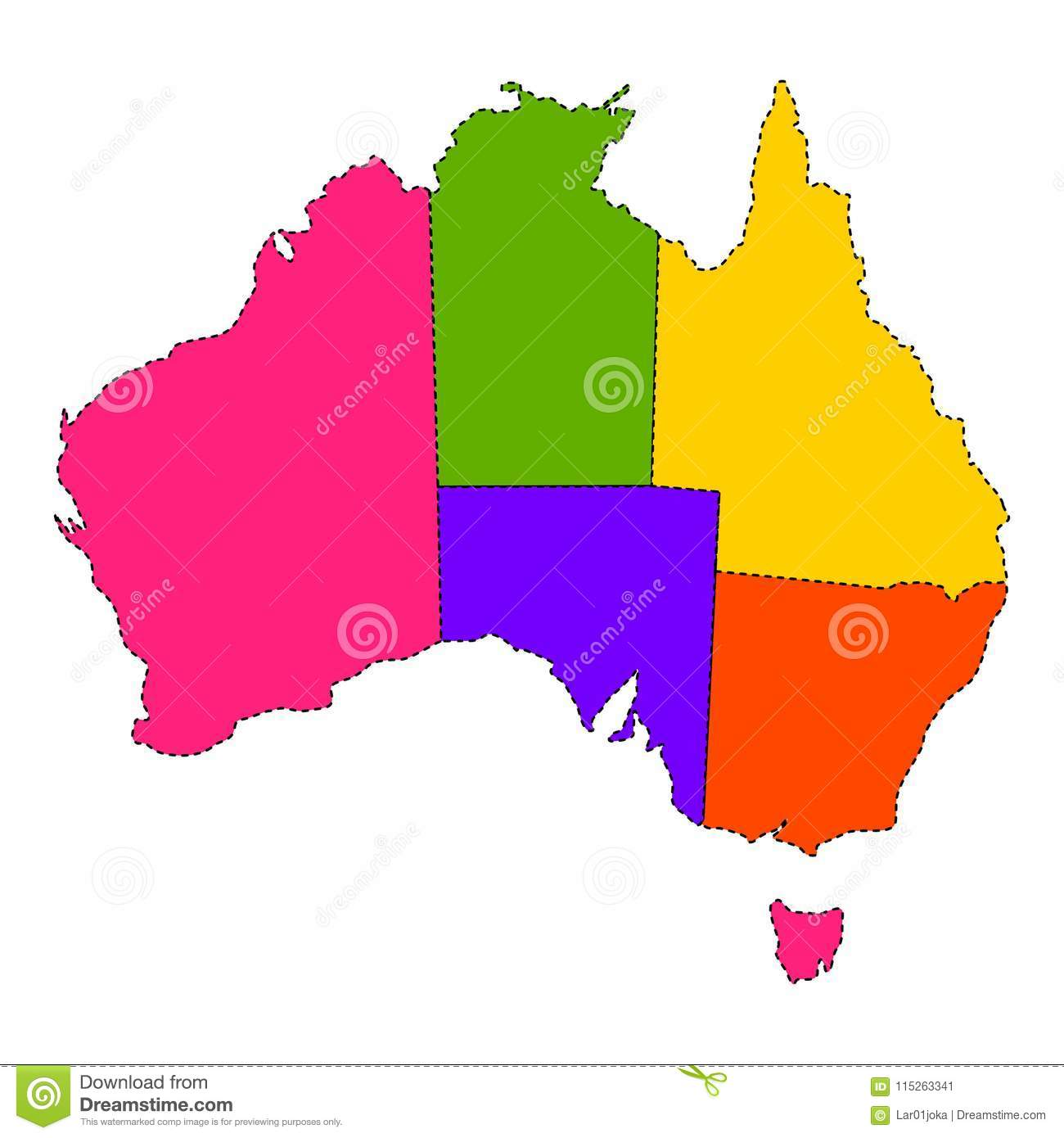 Political map of Australia stock vector. Illustration of continent ...