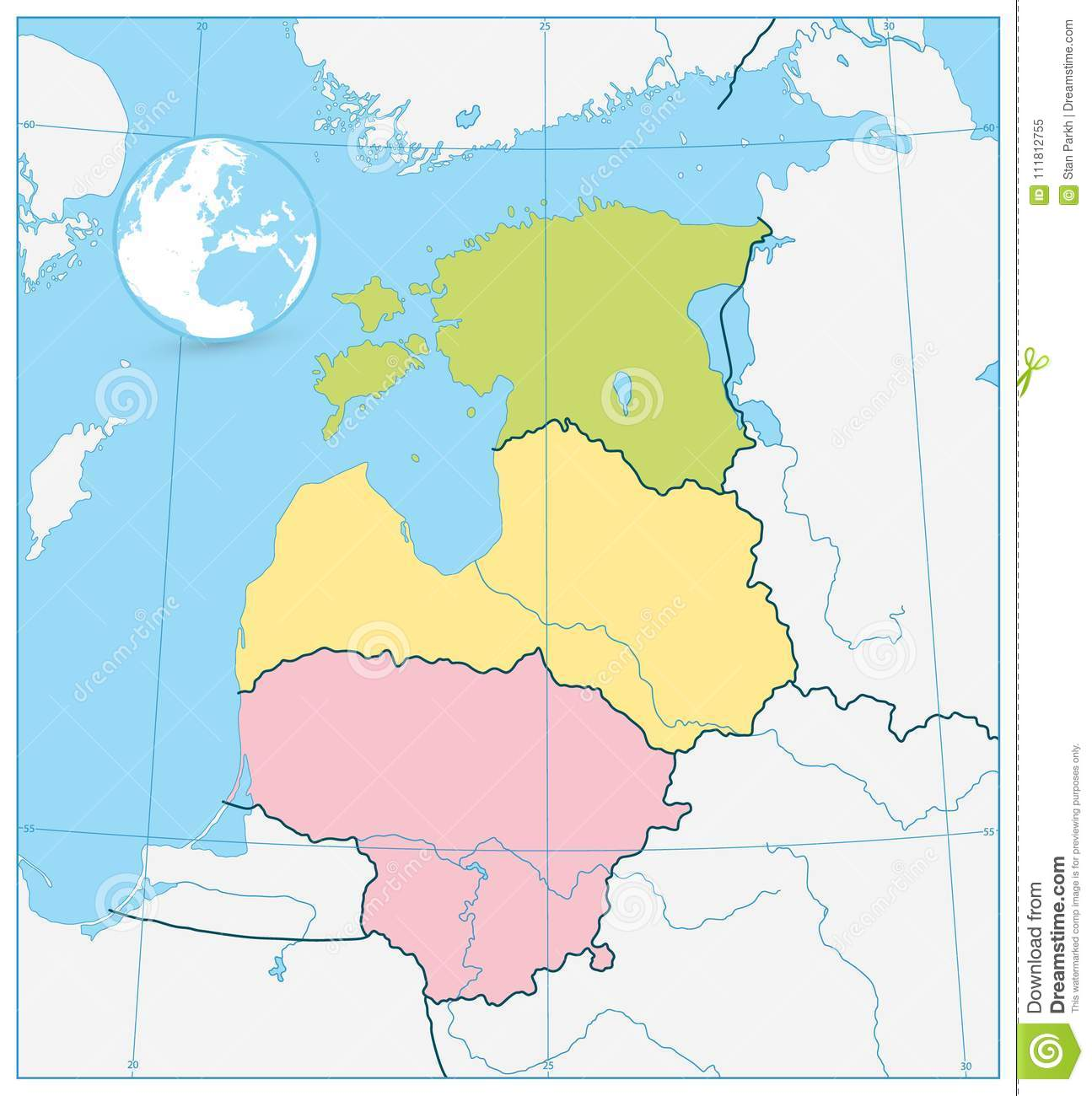 Political Map Of The Baltic States. No Text Stock Vector ... on