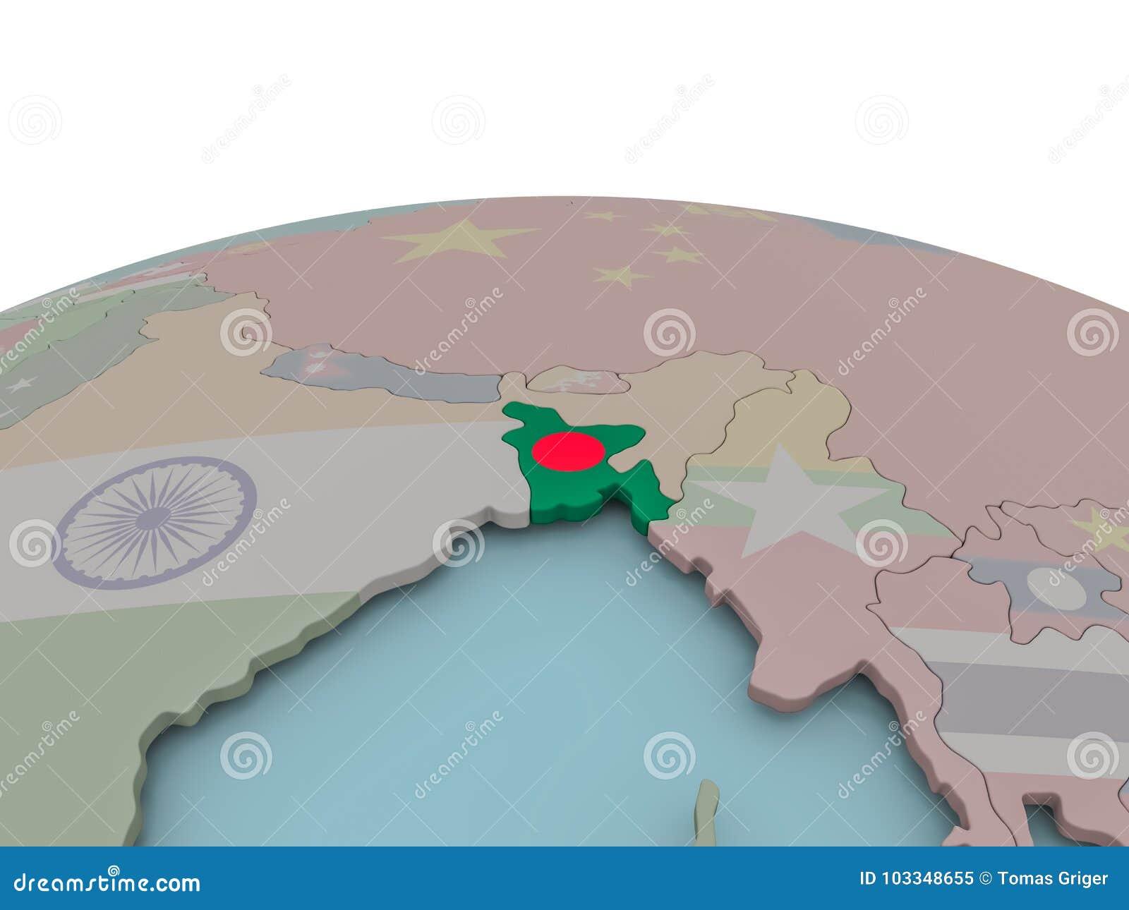Political Map Of Bangladesh On Globe With Flag Stock Illustration