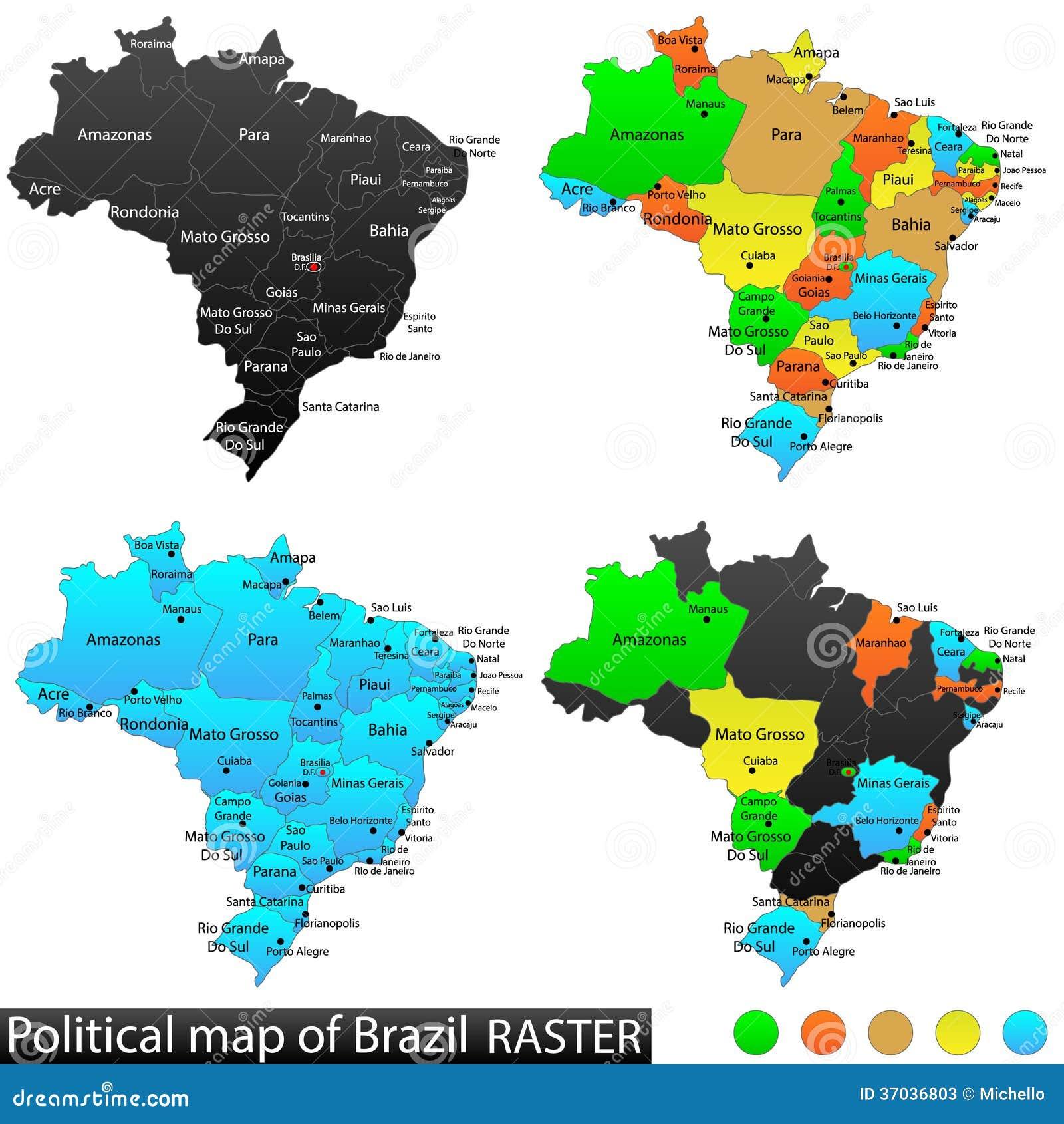 Brazil Political Map Stock Vector Illustration Of Bolivia - Brazil political map