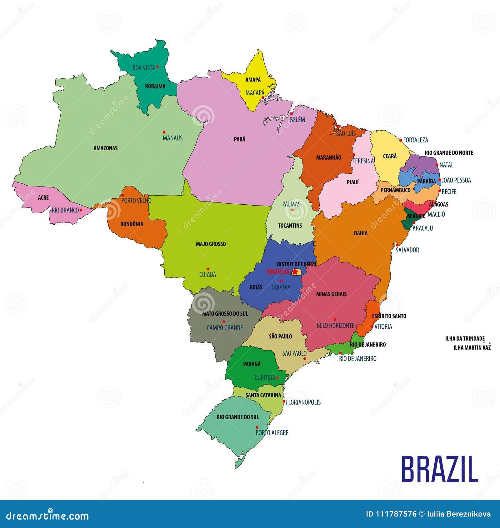 Political map of Brazil stock vector. Illustration of illustration ...