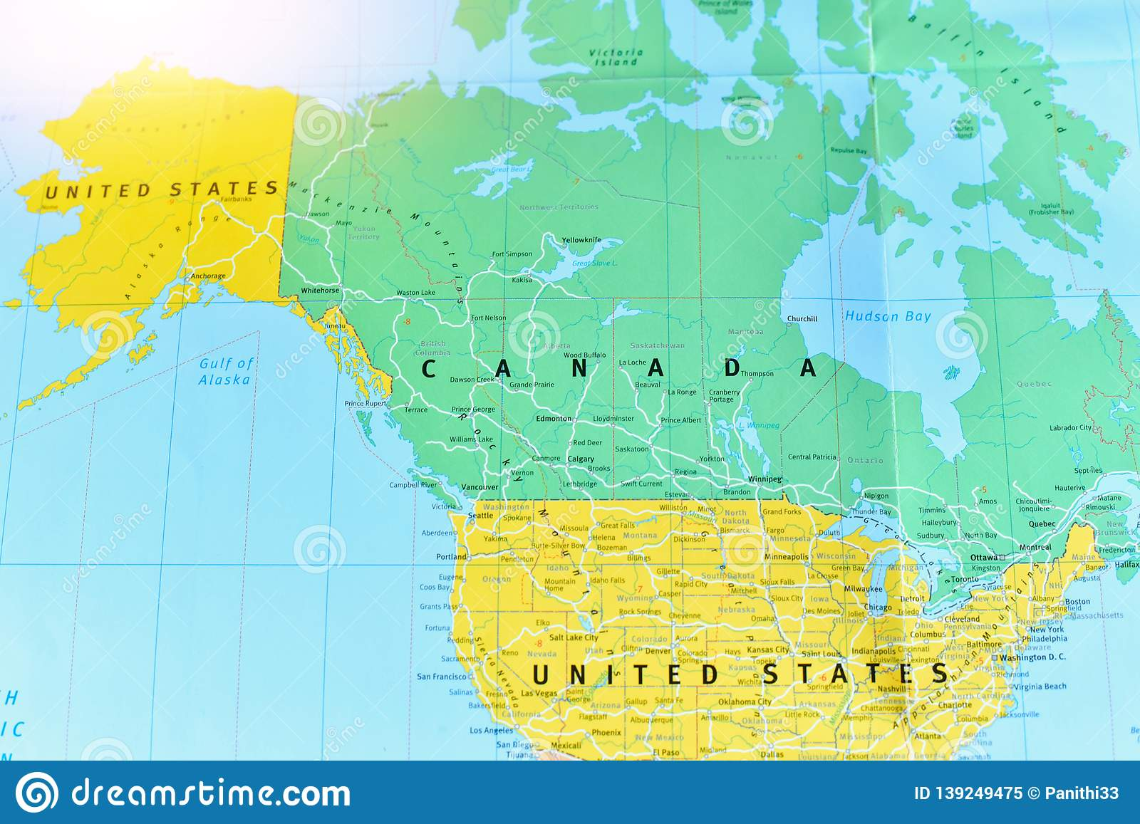 Political Map Of Canada And The United States Stock Image ...