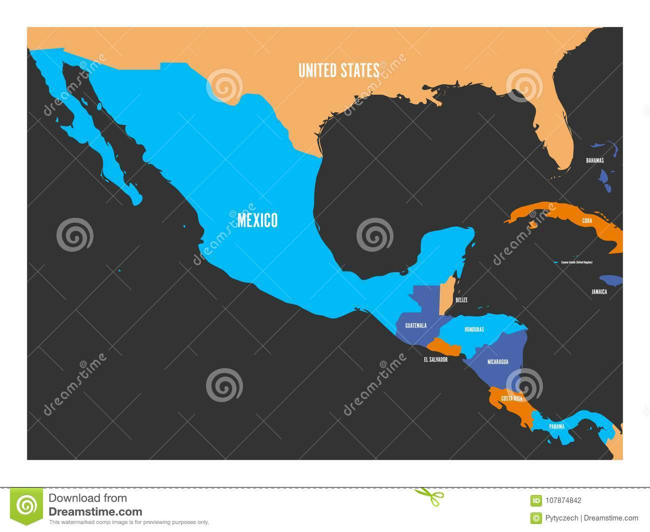 Political Map Of Central America And Mexico In Four Colors. Simple ...