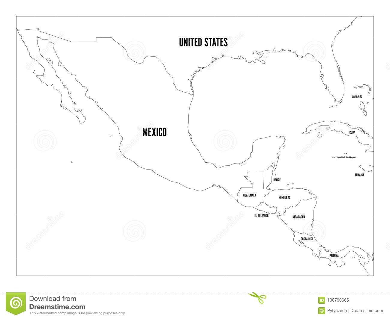 Download Political Map Of Central America And Mexico In Four Shades Of  Green. Simple Thin