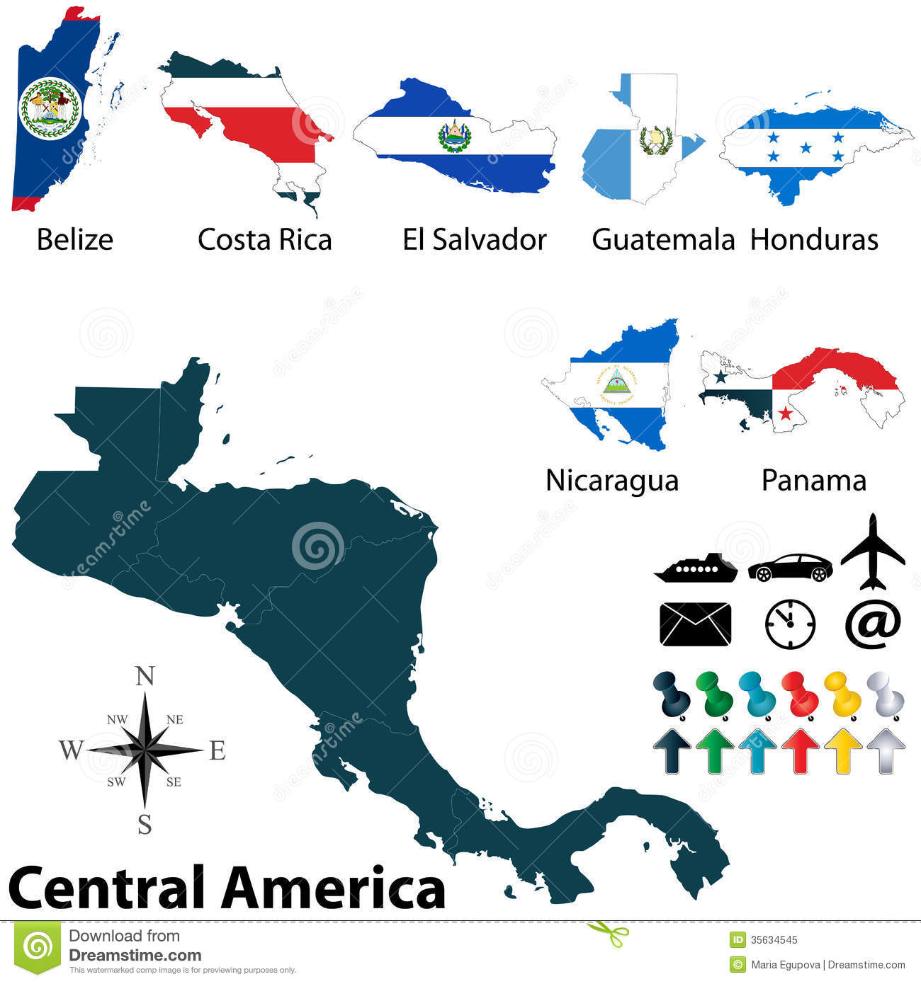 Political Map Of Central America Stock Vector - Illustration of rica ...