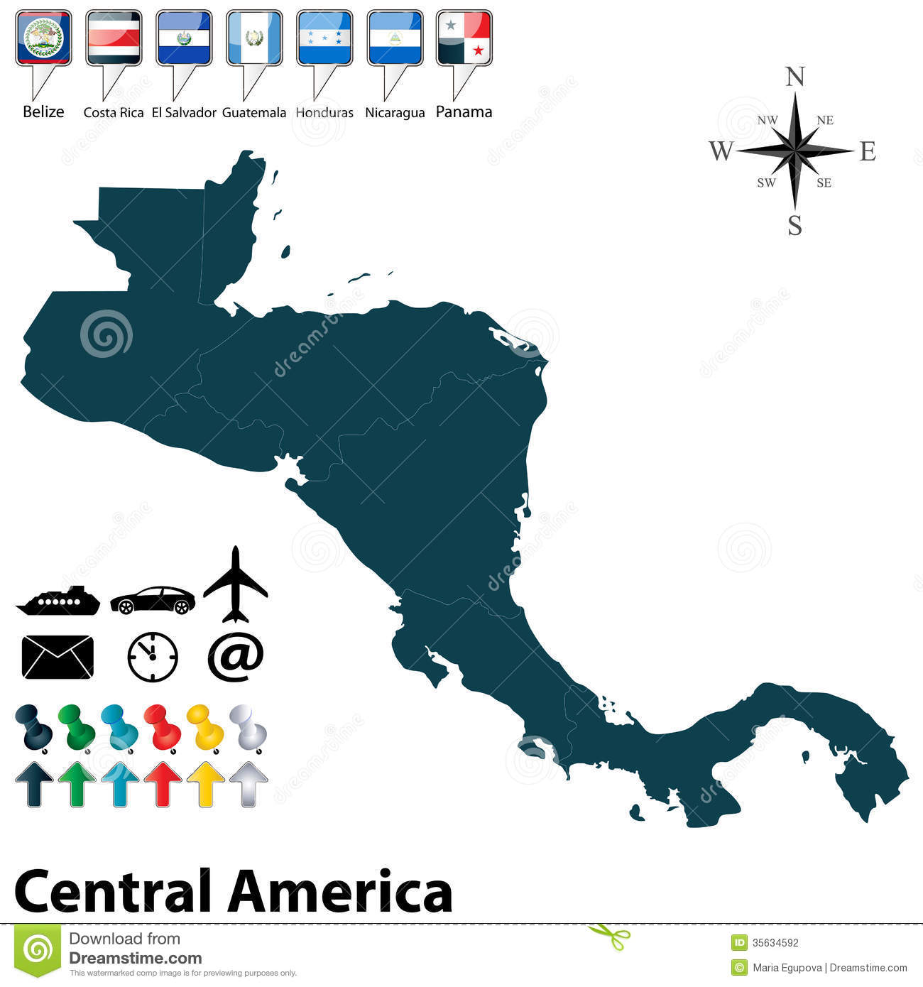 Political Map Of Central America Stock Vector - Illustration of ...