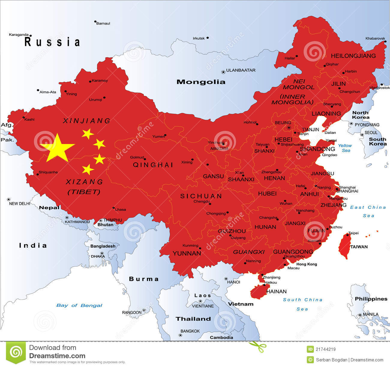 Highly detailed map of China with all different regions and main ...