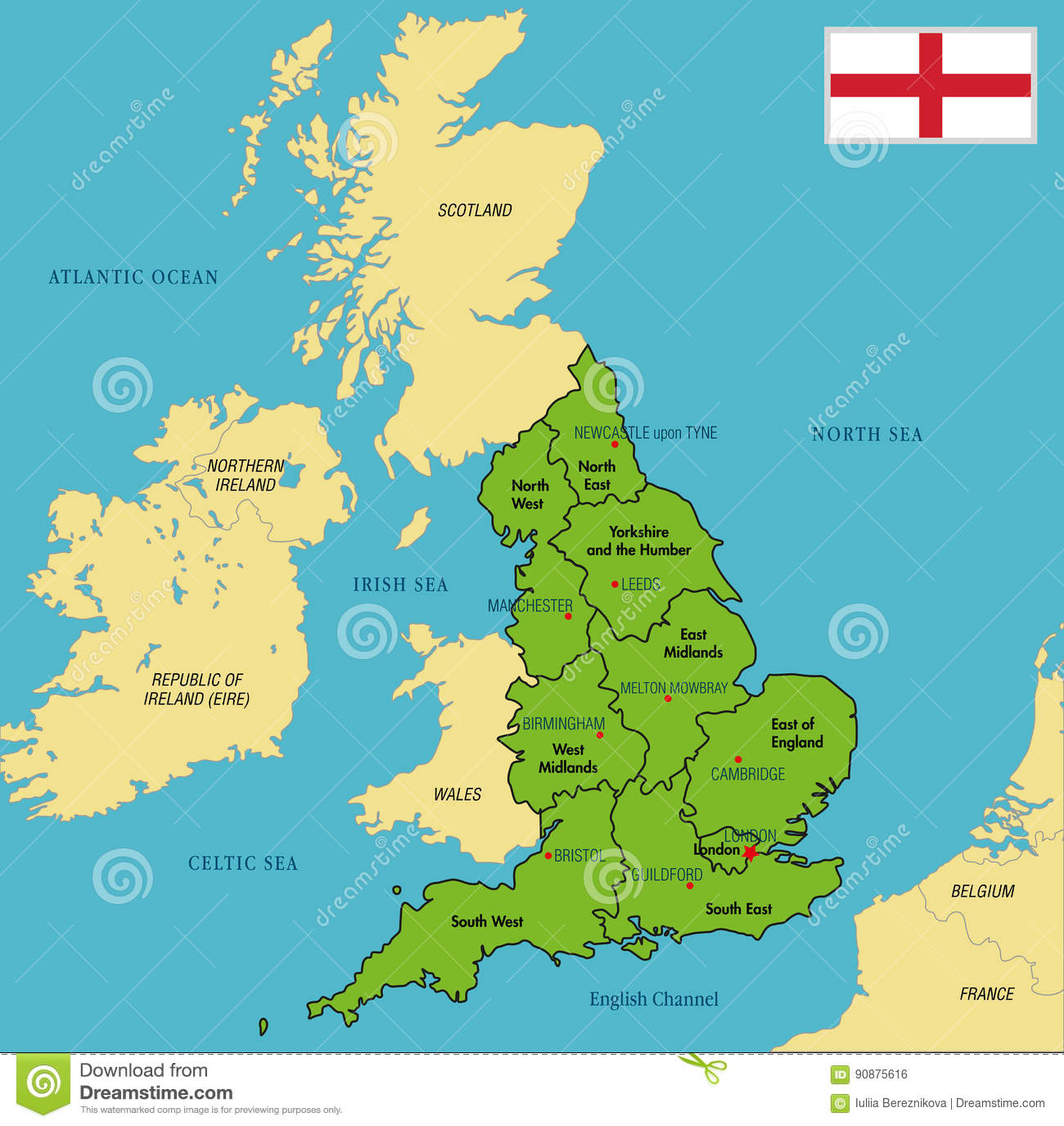 Map Of England Birmingham.Political Map Of England With Regions And Their Capitals Stock