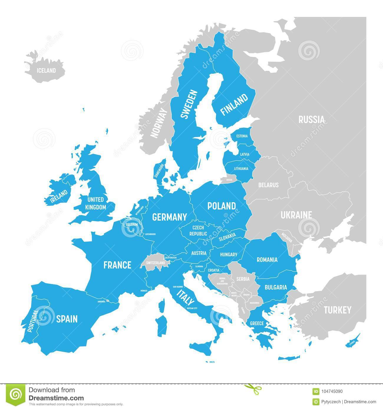 Political Map Of Europe With Blue Highlighted 28 European Union Eu