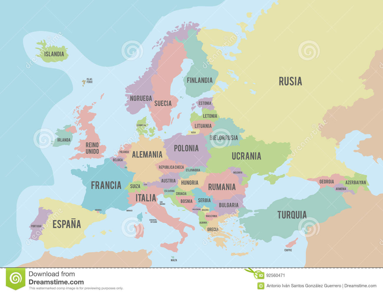 Political Map Of Europe With Different Colors For Each Country And