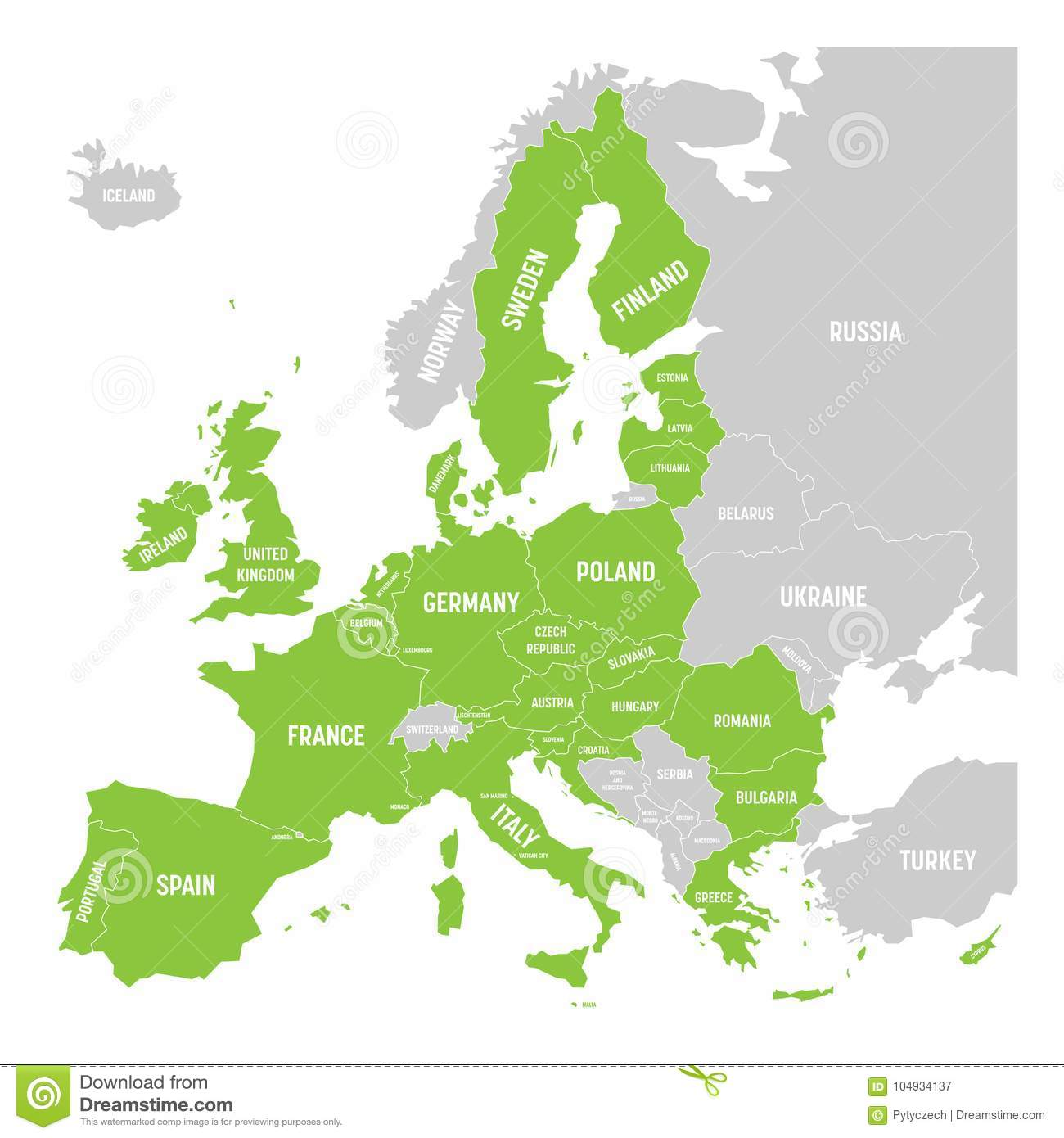 Political Map Of Europe With Green Highlighted 28 European Union Eu