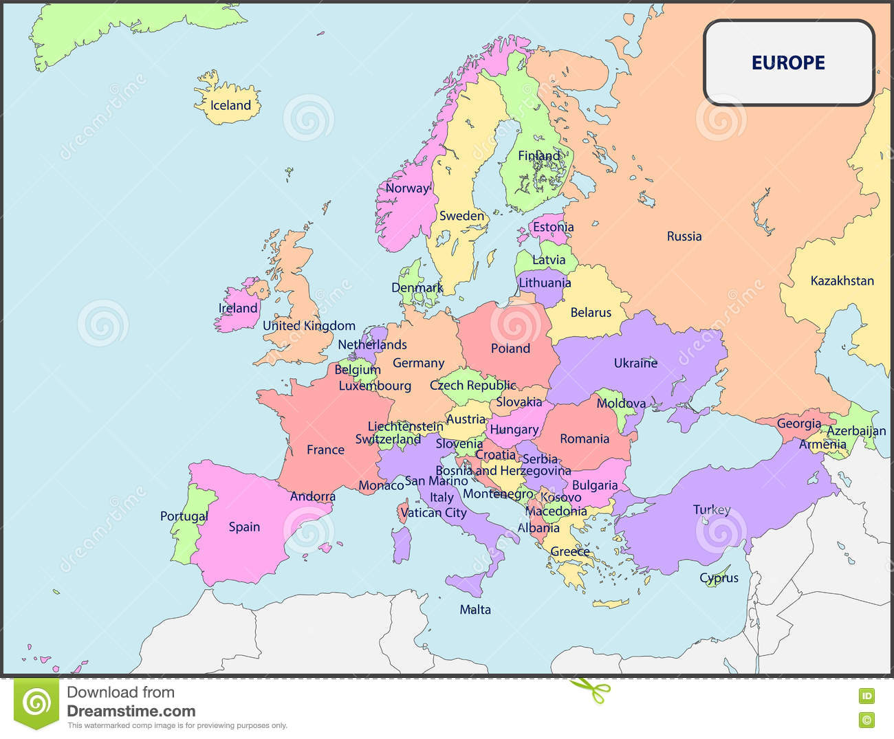 Political Map Of Europe With Names Stock Vector - Illustration of ...