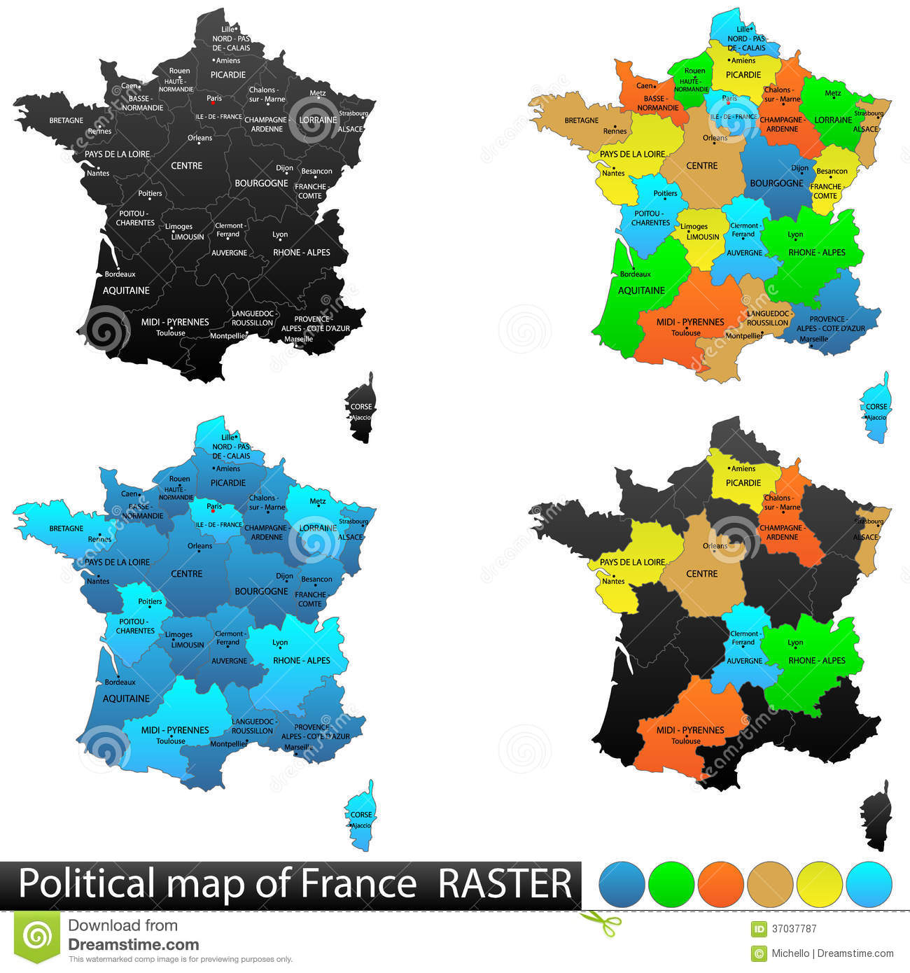 Political map of France stock vector. Illustration of district ...