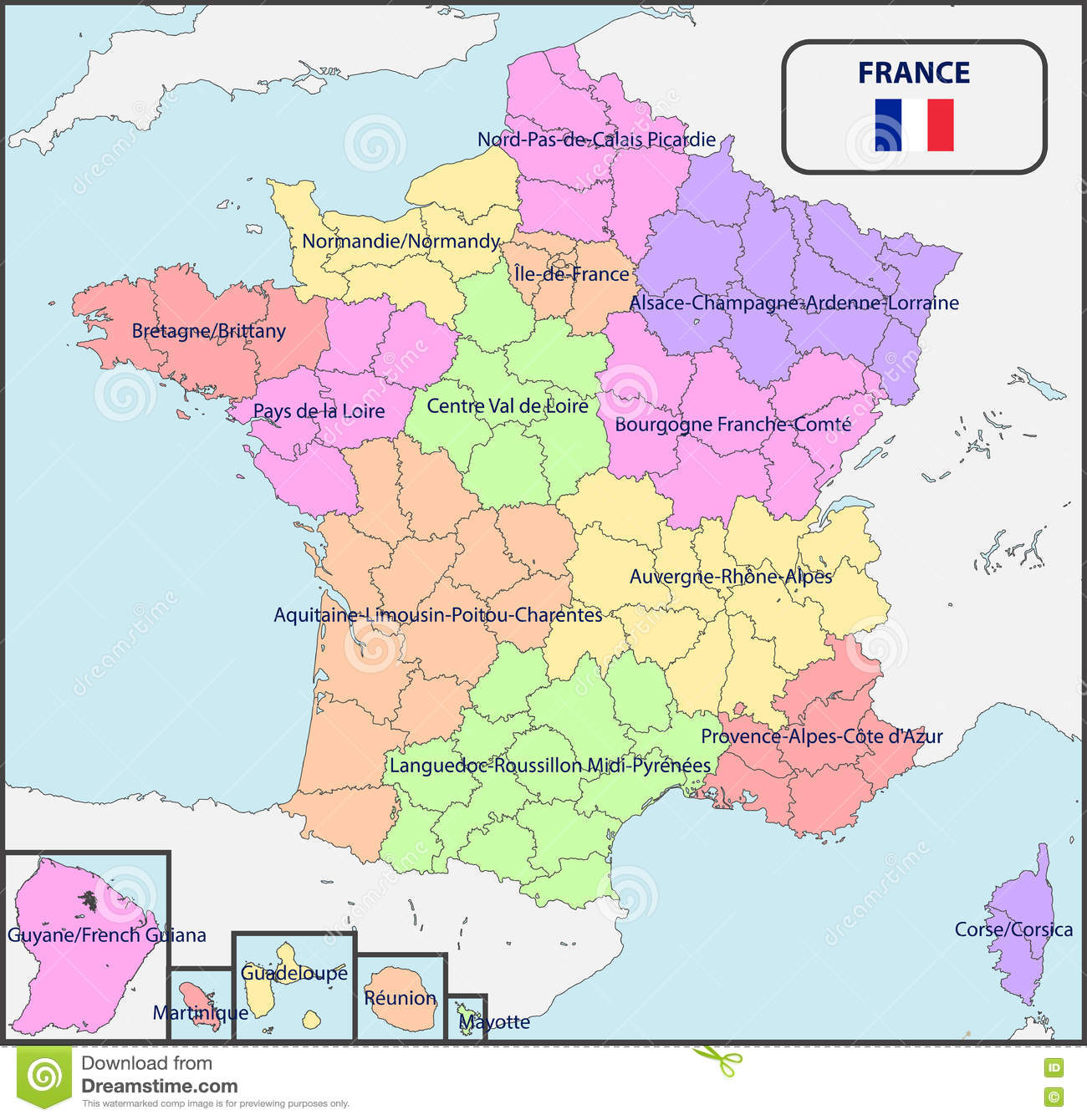 Political Map Of France With Names Stock Vector Illustration Of