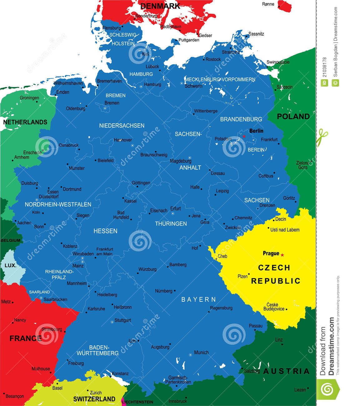 Political map of Germany stock vector. Illustration of illustration ...