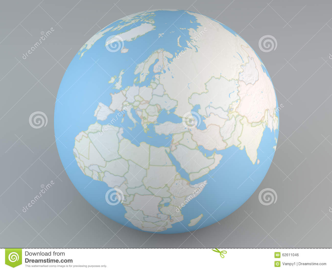 Political Map Globe Of Europe Middle East Asia And Africa Stock