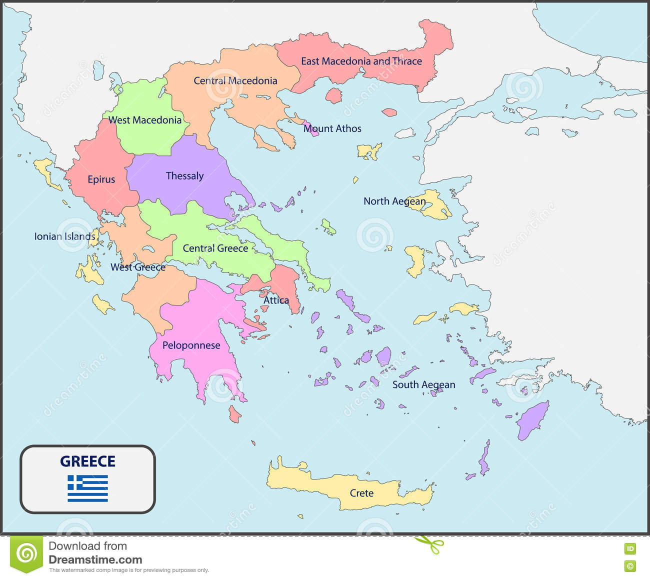 Political Map Of Greece With Names Stock Vector Image - Political map of greece