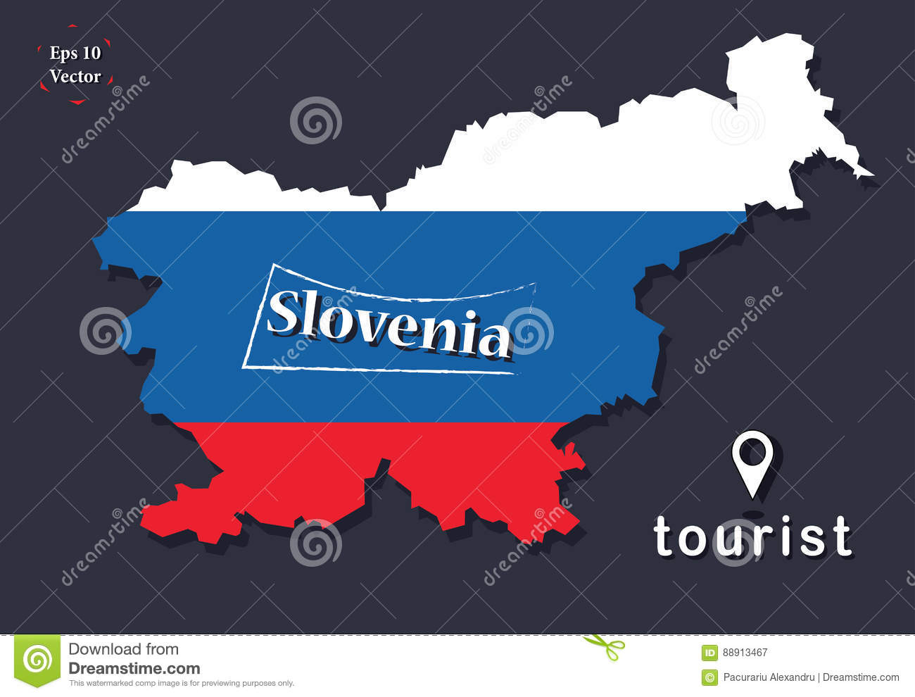 Political map illustration slovenia 3d look with flat design download comp gumiabroncs Images