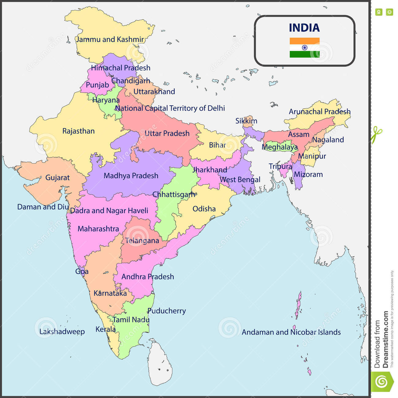 Map Of India Political.Political Map Of India With Names Stock Vector Illustration Of