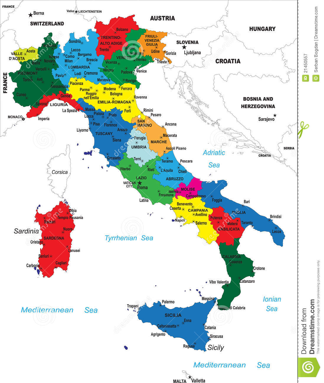 Political Map Of Italy Stock Vector Illustration Of Belluno 21450557