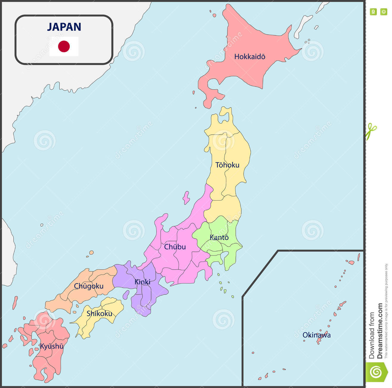 Political Map Of Japan With Names Stock Vector Image - Japan map political