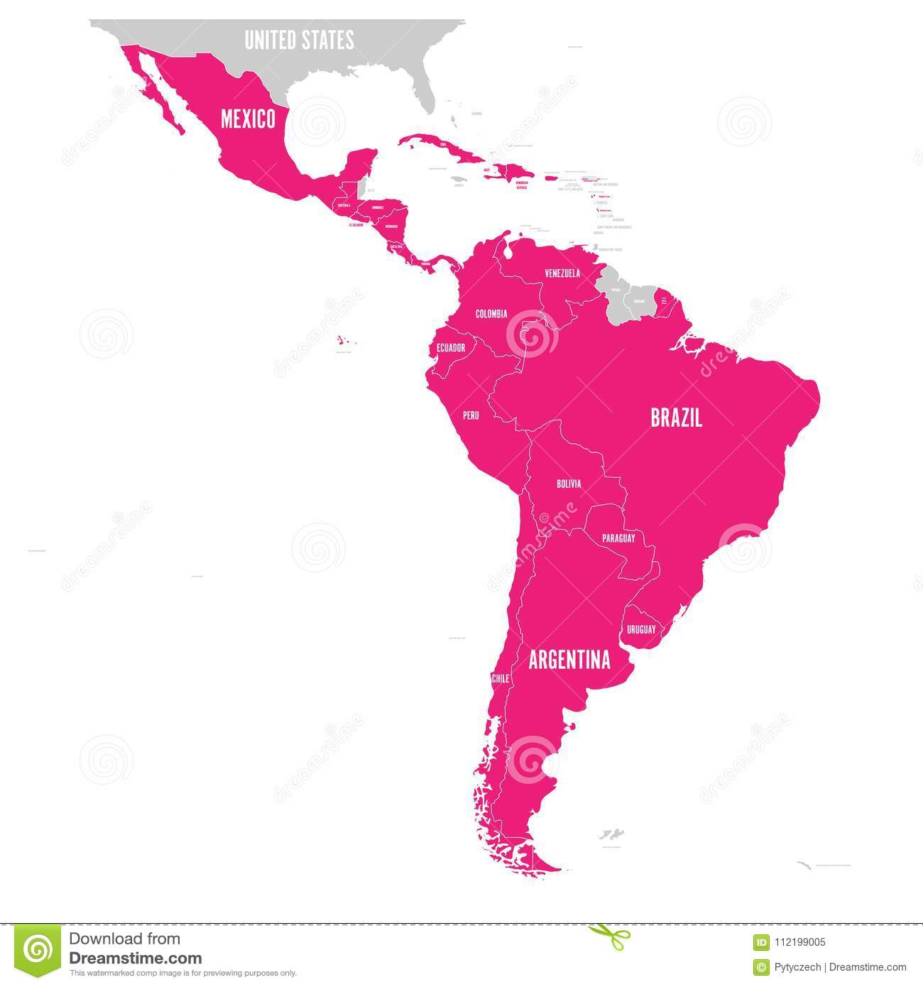 Political map of latin america latin american states pink political map of latin america latin american states pink highlighted in the map of south america central america and gumiabroncs Image collections