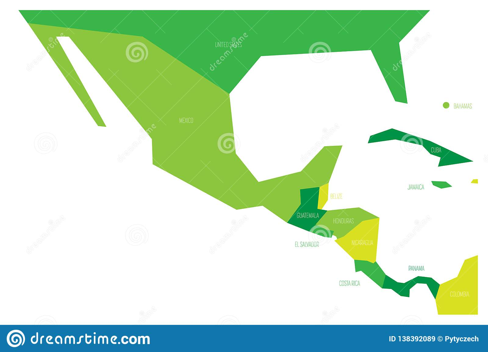 Political Map Of Mexico And Central Amercia. Simlified Schematic ...