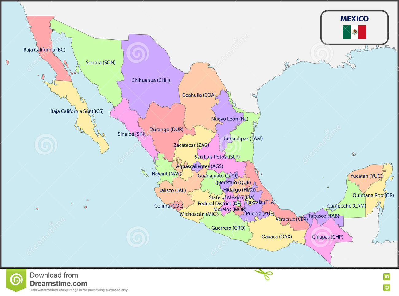 Political Map Of Mexico With Names Stock Vector Image 73205454