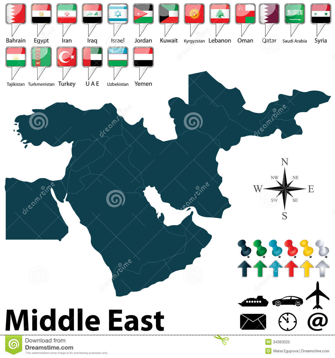Political Map Of Middle East Stock Vector - Illustration of middle ...