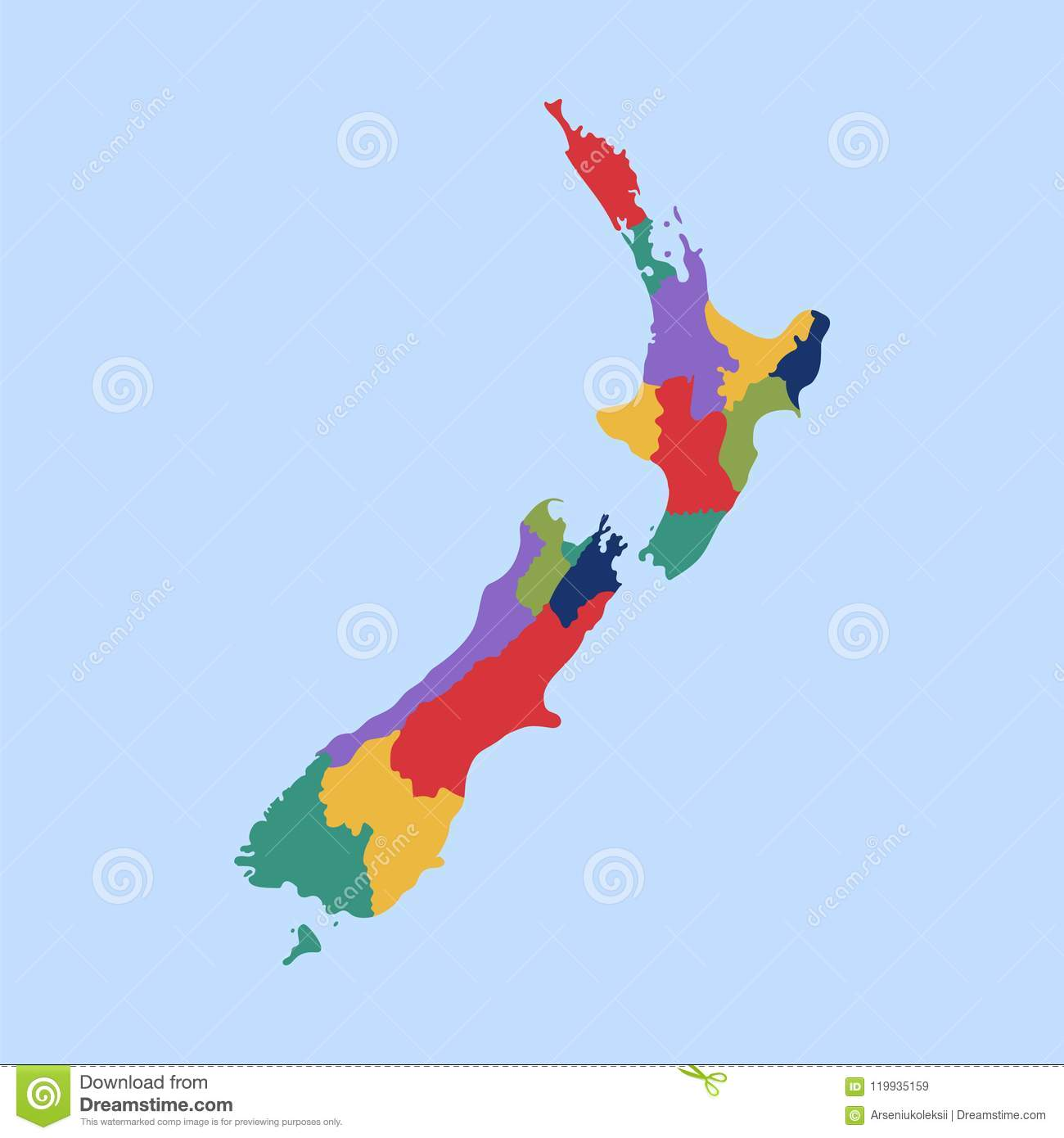 Political Map Of New Zealand.Political Map On The New Zealand With Separated States Stock Vector