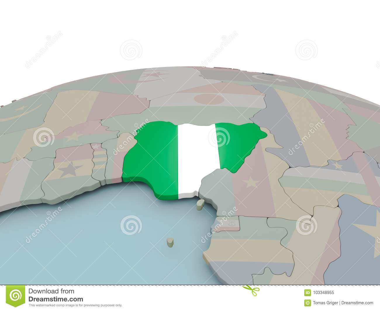 Political map of nigeria on globe with flag stock illustration political map of nigeria on globe with flag ccuart Choice Image
