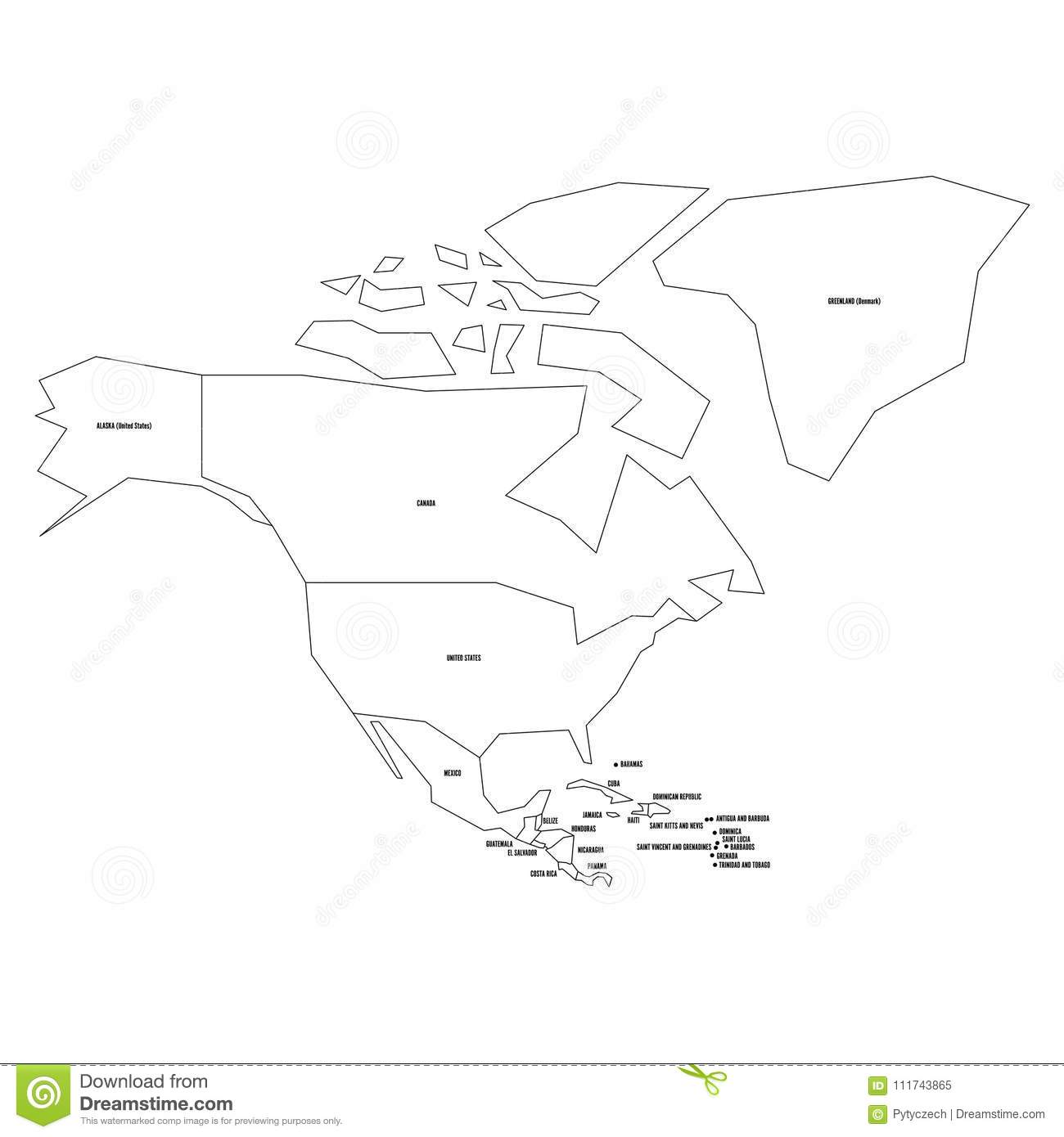 Political Map Of North America. Simplified Thin Black ... on map of ocean sketch, map of hawaii sketch, map of kentucky sketch, map of bahrain sketch, map of new france sketch, africa map sketch, map of caribbean sketch, map of hong kong sketch, map of zambia sketch, map of world sketch, map of new jersey sketch, usa map sketch, map of mauritius sketch,