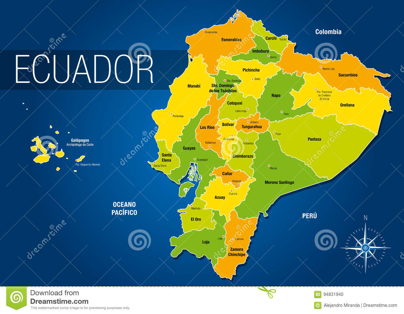 Political Map Of The Republic Of Ecuador With The Names Of The
