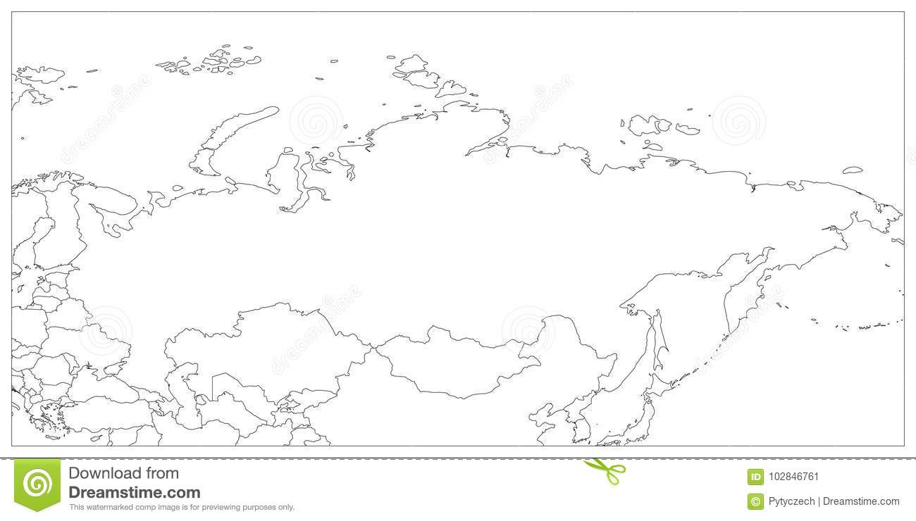 Political Map Of Russia And Surrounding Countries. Black ...