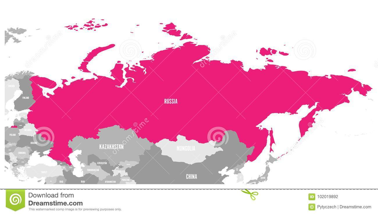 Political Map Of Russia And Surrounding Countries Highlighted By