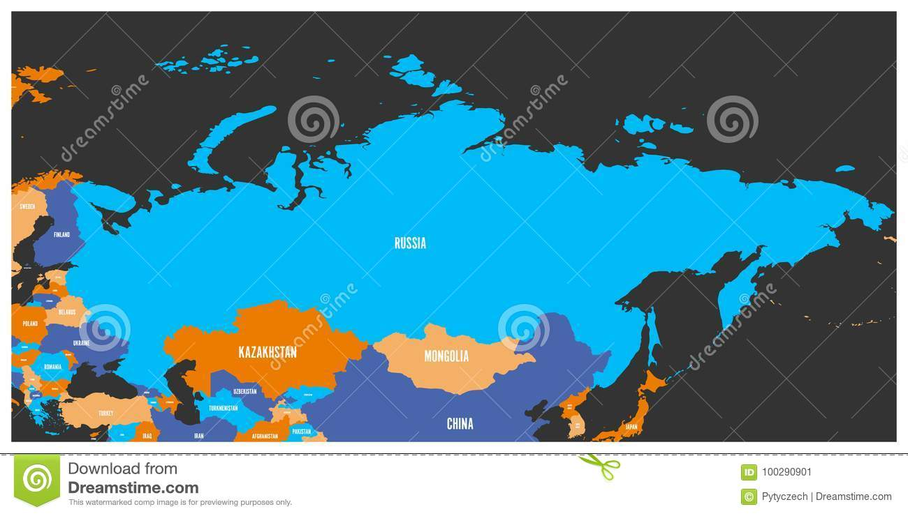 Political Map Of Russia And Surrounding European And Asian Countries ...