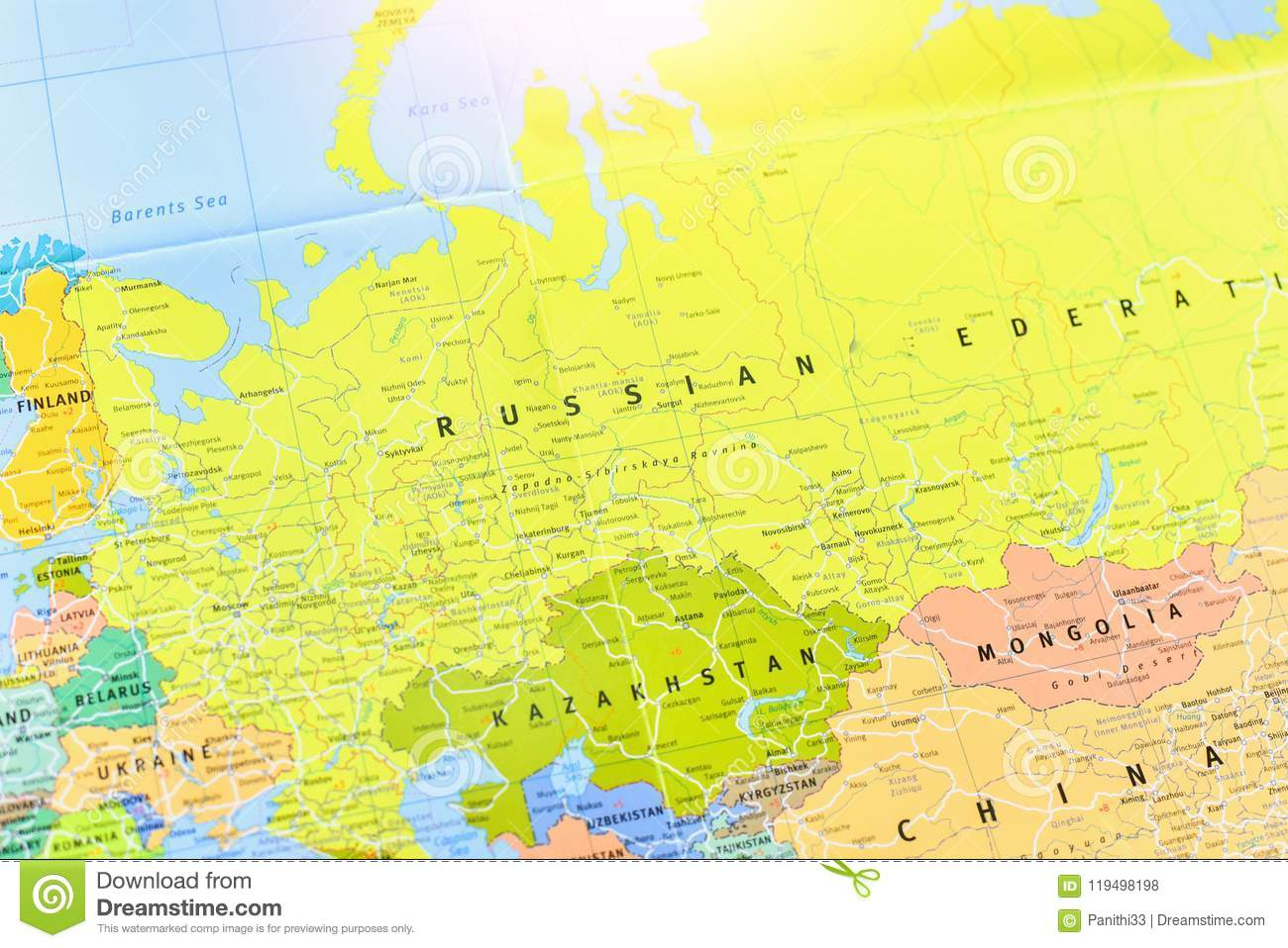 Political Map Of The Russian Federation Stock Photo - Image of land ...