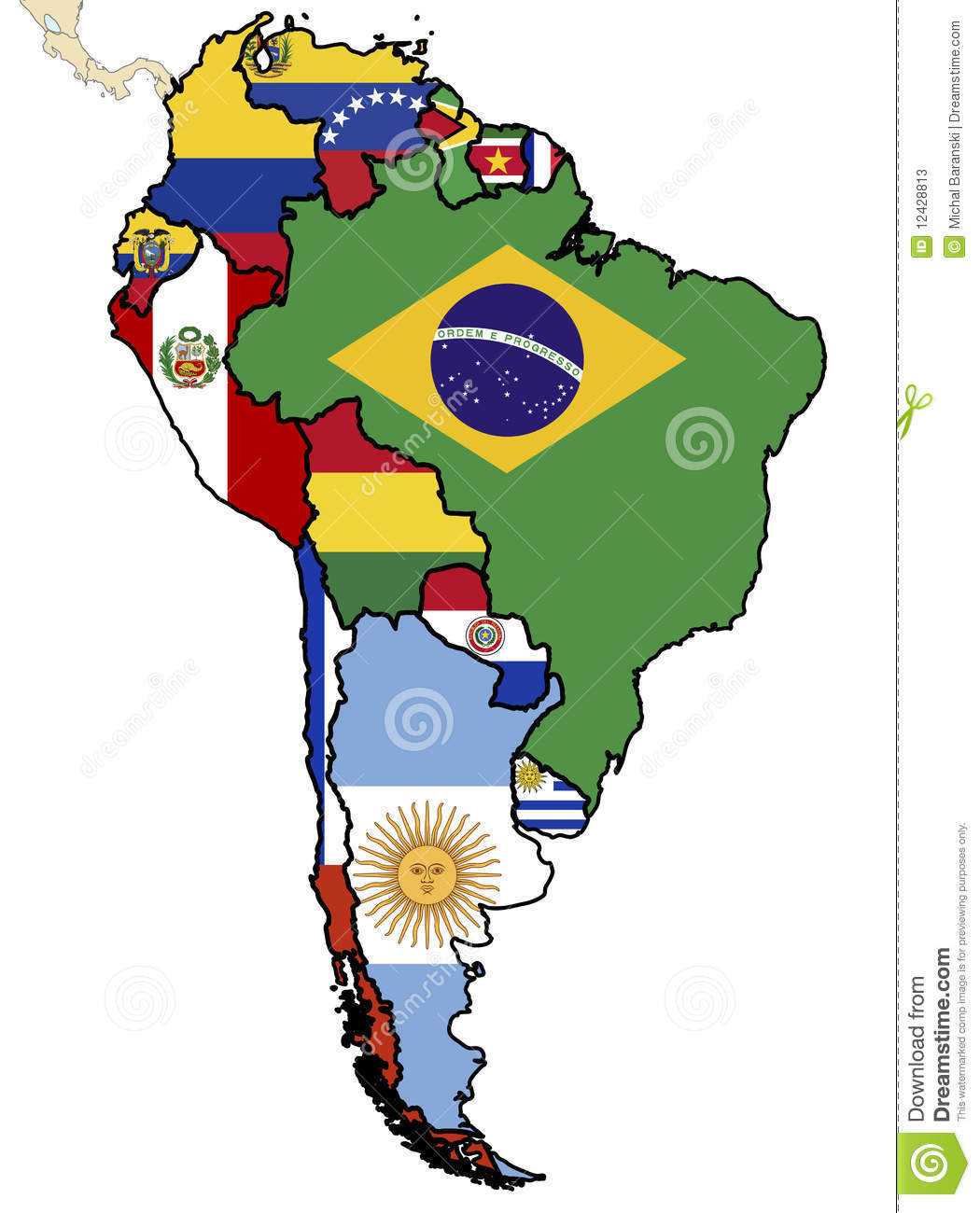 Political Map Of South America Stock Illustration - Illustration of ...