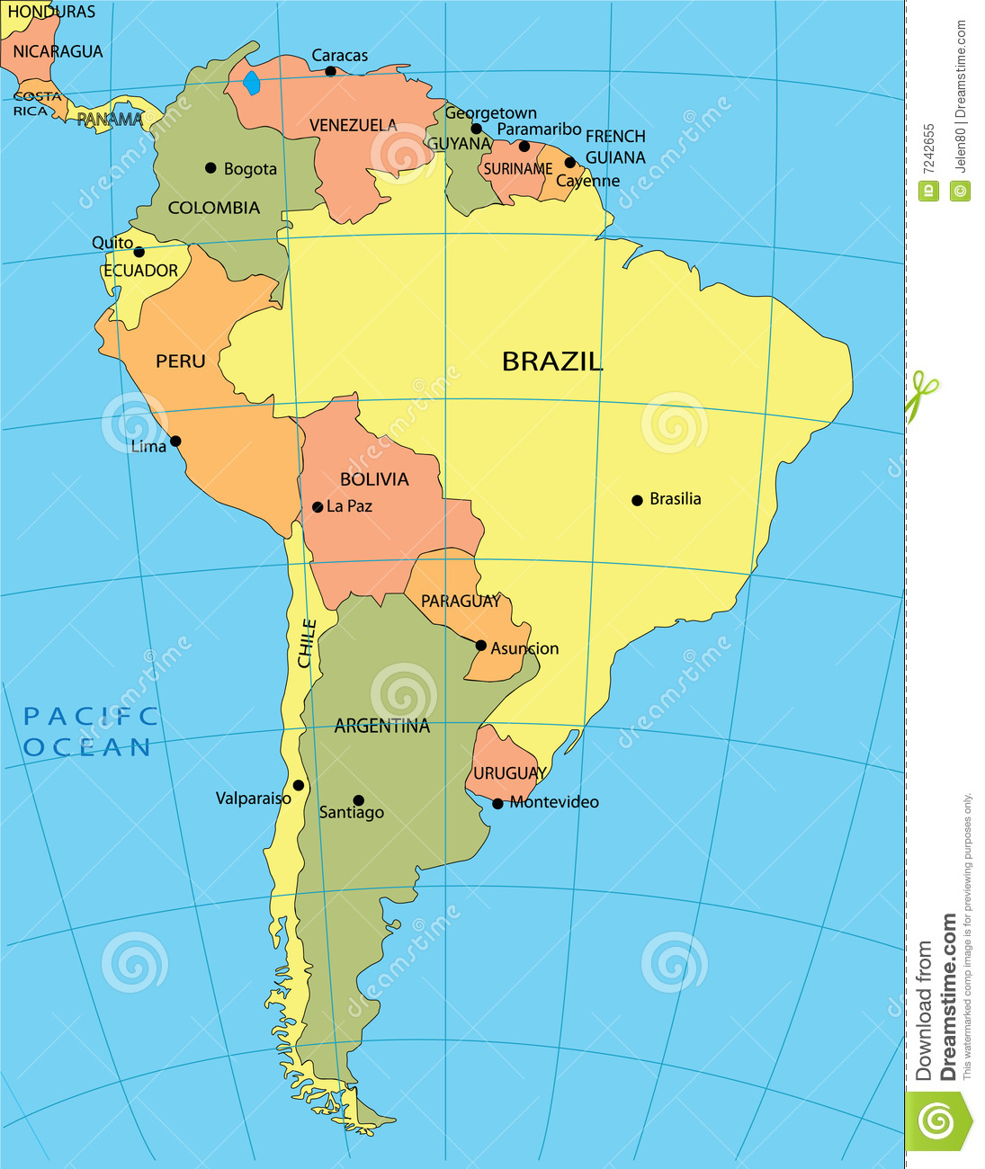 Political Map Of South America Stock Illustration Illustration Of