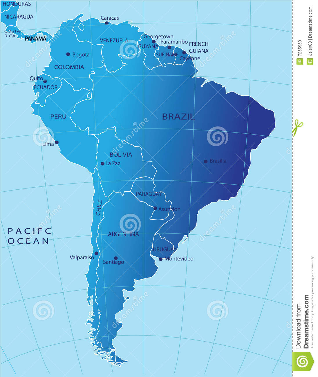 stock illustration south america political