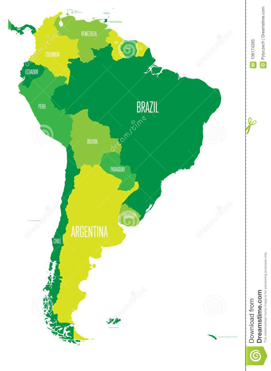 Political Map Of South America Simple Flat Vector Map With