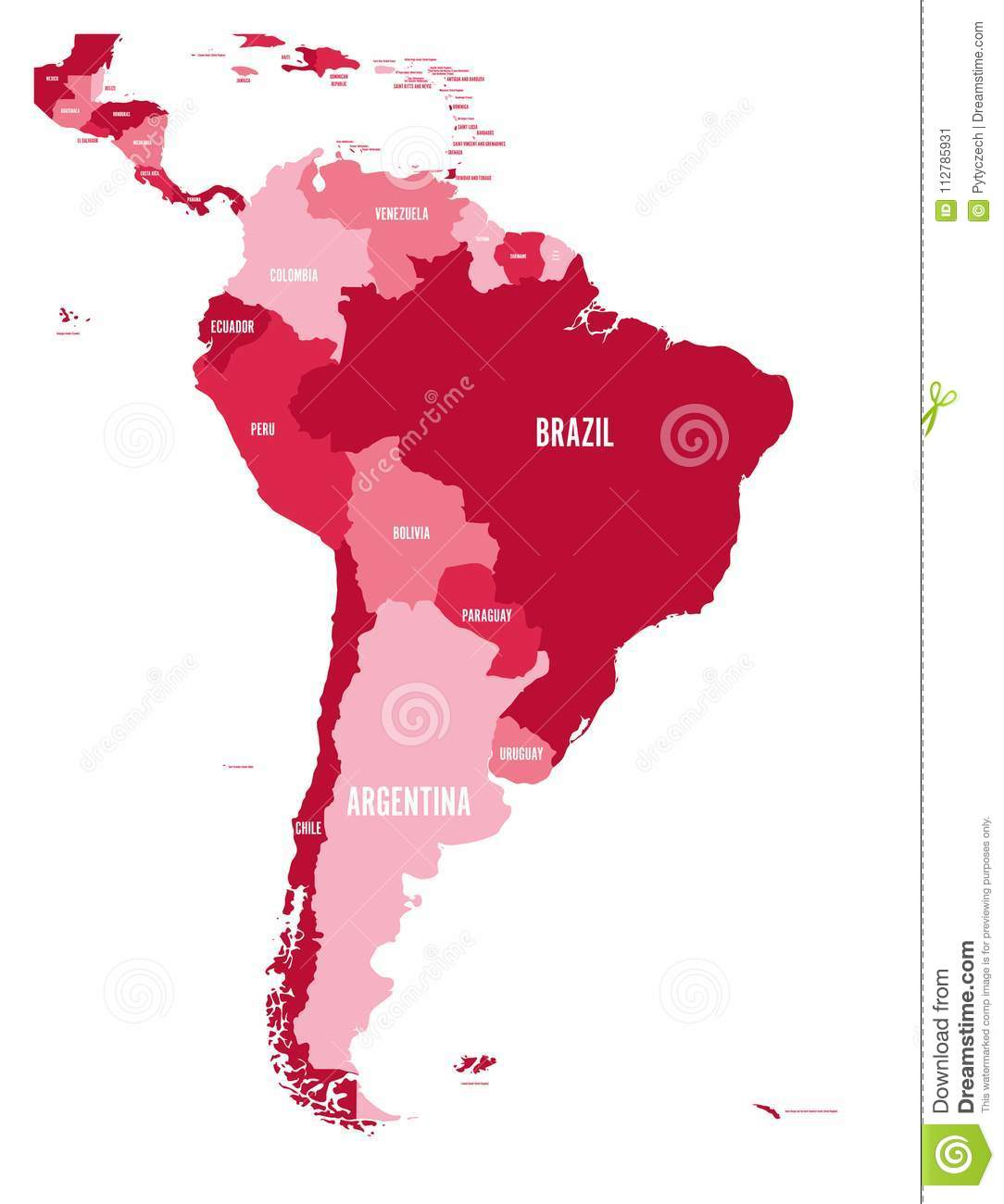 Political map of south america simple flat vector map with country political map of south america simple flat vector map with country name labels in four shades of maroon gumiabroncs Gallery