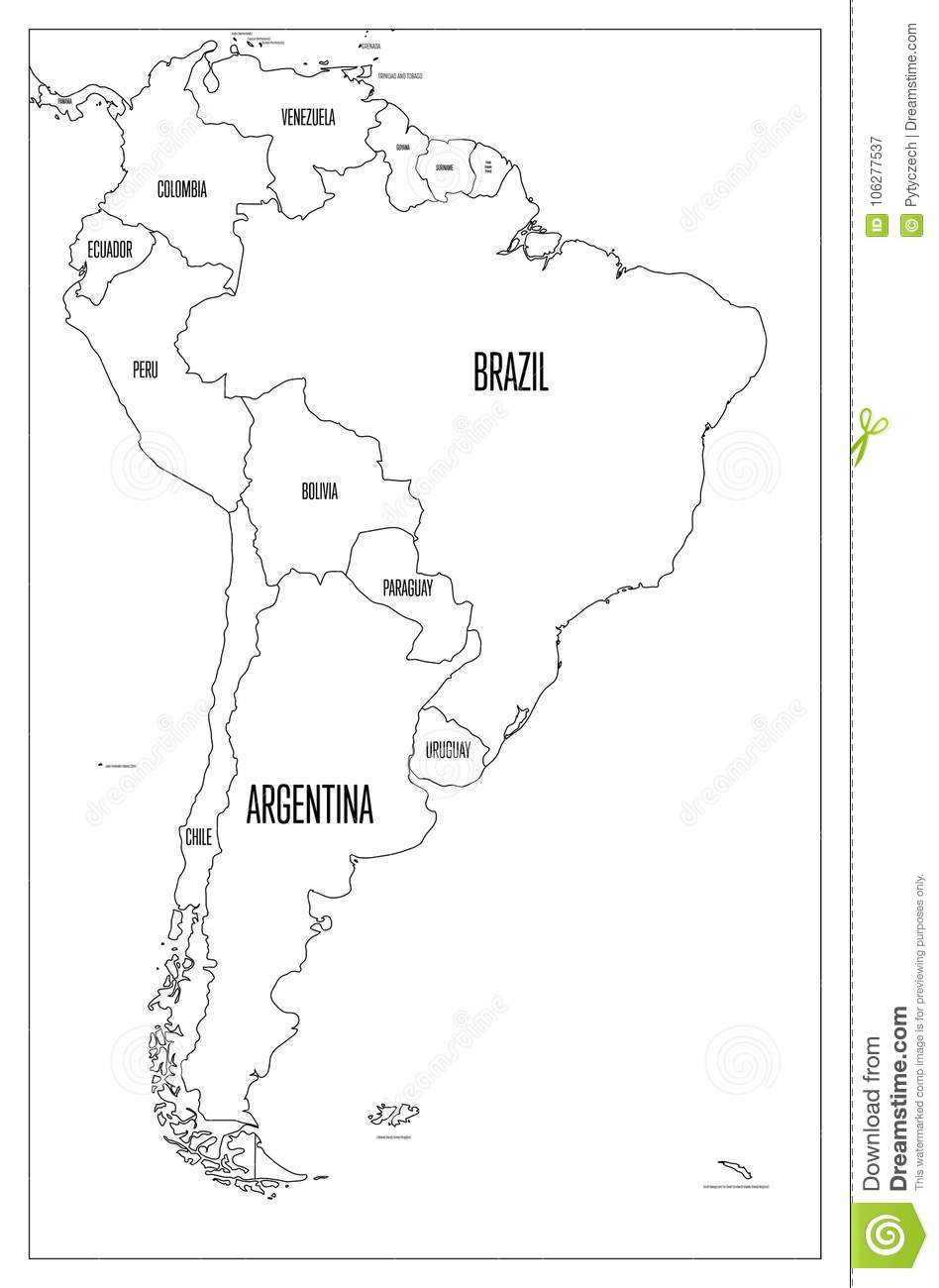 Political Map Of South America Simple Flat Vector Outline Map Stock