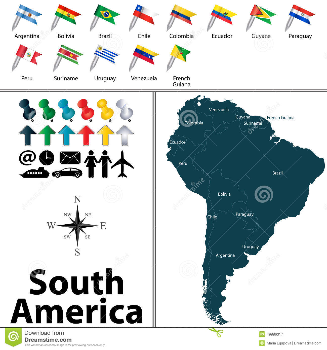 Political Map Of South America Stock Vector - Illustration of ...