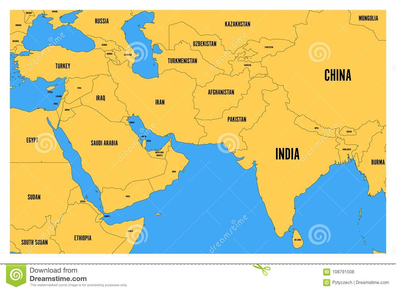 Political Map Of South Asia And Middle East. Simple Flat Vector Map on