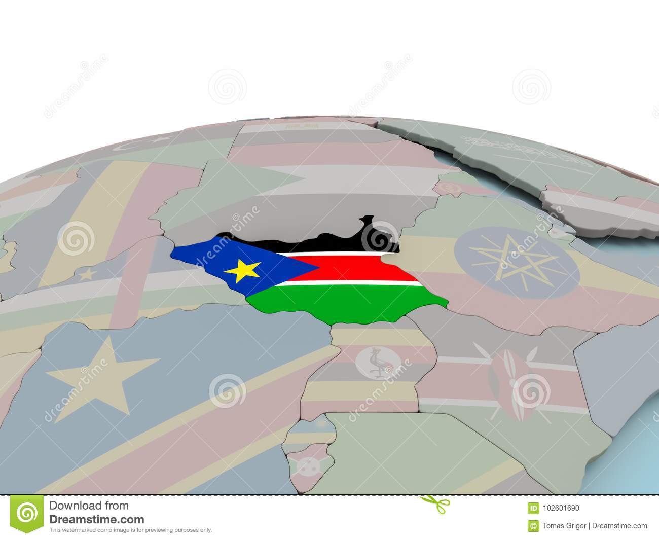 Political Map Of South Sudan.Political Map Of South Sudan On Globe With Flag Stock Illustration